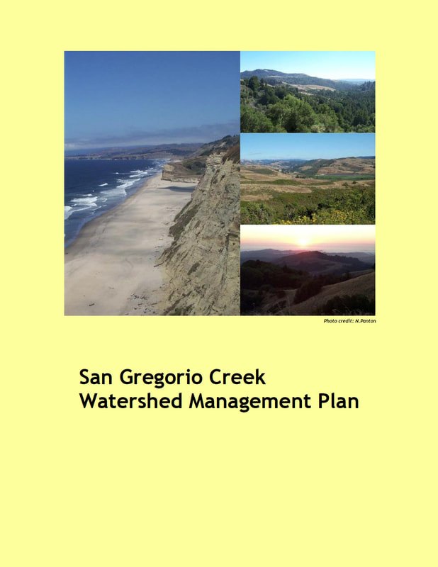 Yellow cover of the San Gregorio Creek Watershed Management Plan, with aerial photos of the coast and watershed.